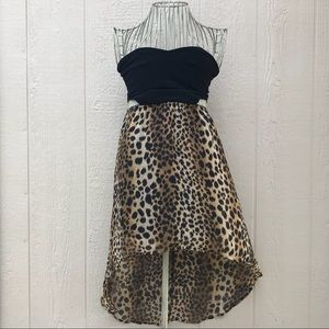 Strapless Side Cut Cheetah Print High Low Dress S